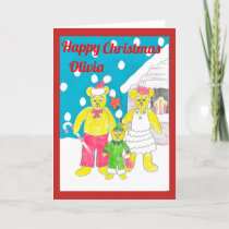 3 bears Christmas card olivia