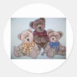 3 bears round stickers