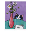 3 Bees, 3 Flowers, 2 Letters - Cat Postcard