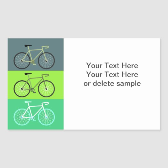 3 Bikes Green Rectangular Sticker