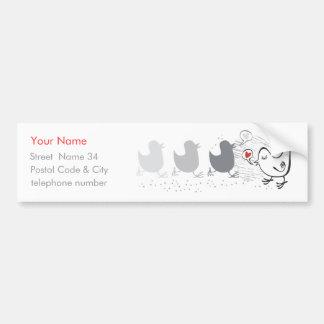 3 birds + 1 in love car bumper sticker