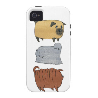 3 Biscuit Dog - Pug, Chinese Shar-pei,  Lhasa Apso iPhone 4 Covers