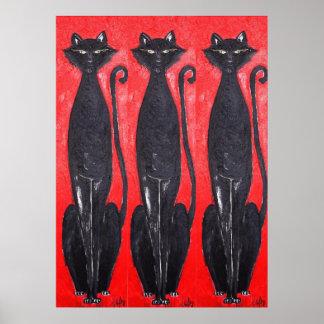 3 BLACK CATS ART PRINT