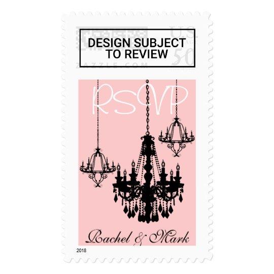 3 Black Chandelier Rsvp Personalized Pink Stamp