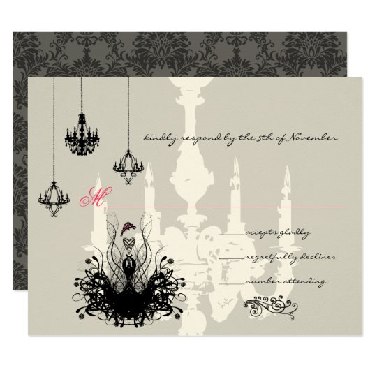 3 Black Chandeliers Fashion Diva Wedding RSVP Card