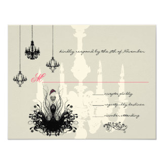 "3 Black Chandeliers Fashion Diva Wedding RSVP 4.25"" X 5.5"" Invitation Card"
