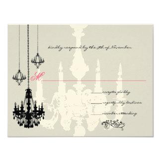 "3 Black Chandeliers Pink Accent Wedding Invitation 4.25"" X 5.5"" Invitation Card"