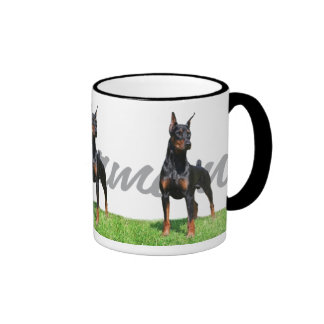3 black Doberman Pinschers w/ breed name graphic Mugs