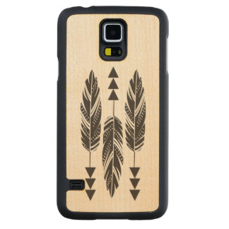 """""""3 Black Feathers"""" Maple Wood Galaxy S5 Case Carved® Maple Galaxy S5 Slim Case"""