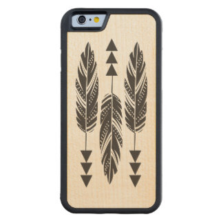 3 Black Feathers Maple Wood iPhone 6 Case Carved® Maple iPhone 6 Bumper