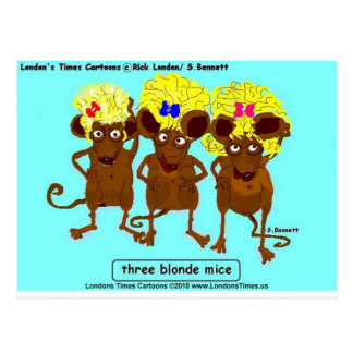 3 Blonde Mice Funny Tees Mugs Cards & Gifts Postcard
