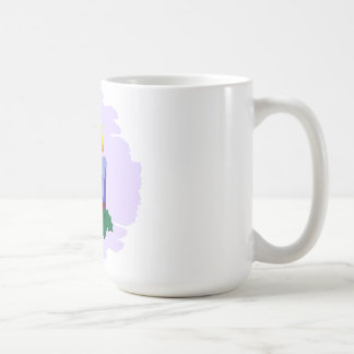 3 blue candles with holly coffee mug
