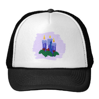 3 blue candles with holly trucker hat