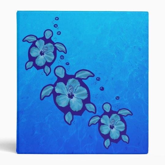 3 Blue Honu Turtles 3 Ring Binder