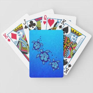 3 Blue Honu Turtles Bicycle Playing Cards