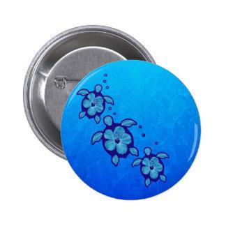 3 Blue Honu Turtles Button