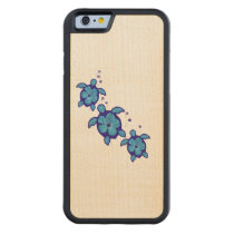 3 Blue Honu Turtles Carved Maple iPhone 6 Bumper Case