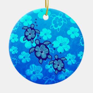 3 Blue Honu Turtles Ceramic Ornament