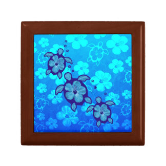 3 Blue Honu Turtles Jewelry Box