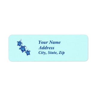 3 Blue Honu Turtles Label