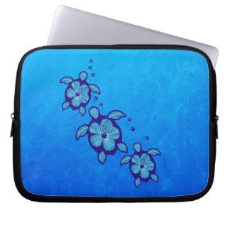 3 Blue Honu Turtles Laptop Computer Sleeves