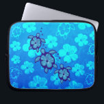 "3 Blue Honu Turtles Laptop Sleeve<br><div class=""desc"">The Hawaiian Honu Sea Turtle is a symbol of peace, good luck, and the spirit within. It is based on the Hawaiian legend of Kauila, a sea turtle that could change into a girl and watch over the children of Hawaii. This is 3 blue honu designs with a hibiscus flower...</div>"