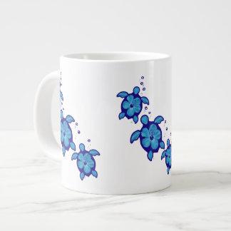 3 Blue Honu Turtles Large Coffee Mug