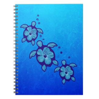 3 Blue Honu Turtles Spiral Notebook