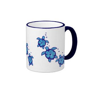 3 Blue Honu Turtles Ringer Coffee Mug