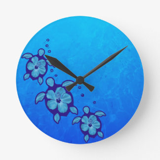 3 Blue Honu Turtles Round Clock