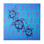 3 Blue Honu Turtles Small Square Tile