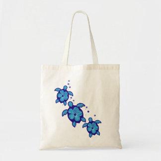 3 Blue Honu Turtles Tote Bag