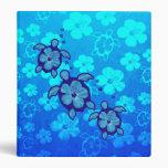 3 Blue Honu Turtles Vinyl Binder