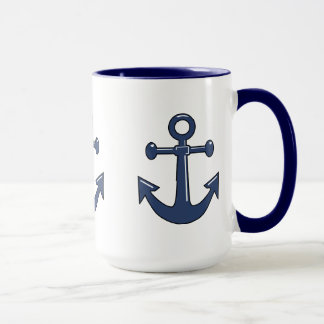 3 Blue Nautical Boat Anchors Sailing Theme Mug
