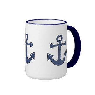 3 Blue Nautical Boat Anchors Sailing Theme Ringer Coffee Mug