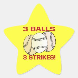 3 bolas 3 huelgas pegatina en forma de estrella