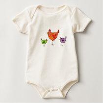 3 Bright Chickens Baby Bodysuit