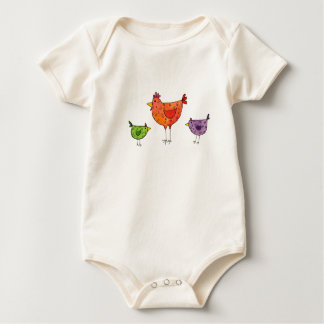 3 Bright Chickens Baby Bodysuit