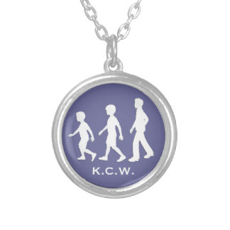 3 Brothers: Paper Cut-Out Style Boys Round Pendant Necklace