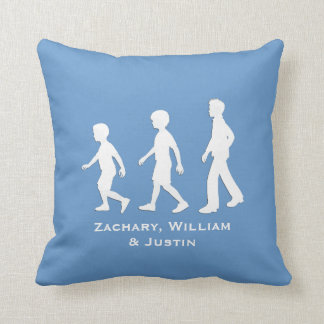 3 Brothers: Paper Cut-Out Style Boys Throw Pillow