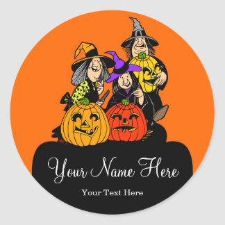 3 brujas y Jack O'Lantern Halloween Etiquetas Redondas