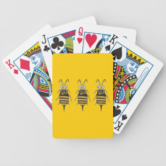 3 Bumblebees in Yellow Bkgrd Bicycle Playing Cards