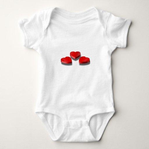 3 cajas en forma de corazón del caramelo mameluco de bebé