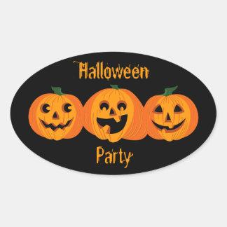 3 calabazas de Halloween Pegatinas De Óval