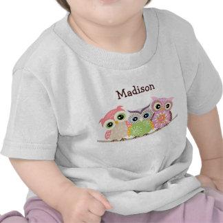 3 camisetas lindas y coloridas del bebé de los búh