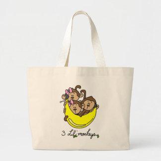 3 camisetas y regalos de los monos de Li'l Bolsa Tela Grande