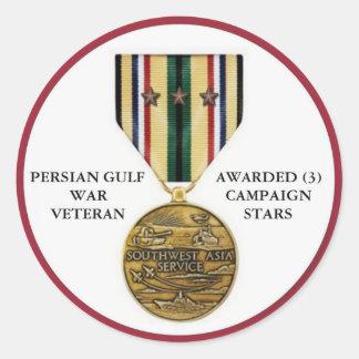 3 CAMPAIGN STARS PERSIAN GULF WAR VETERAN CLASSIC ROUND STICKER