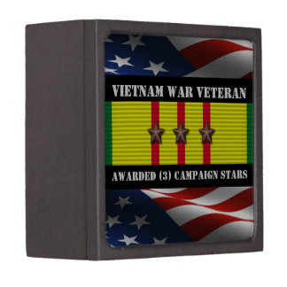 3 CAMPAIGN STARS VIETNAM WAR VETERAN PREMIUM KEEPSAKE BOX