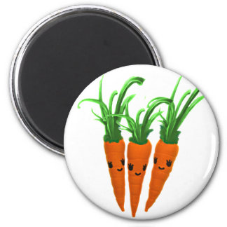3 Carrots 2 Inch Round Magnet