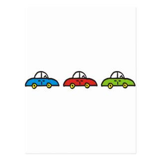 3 cars postcard
